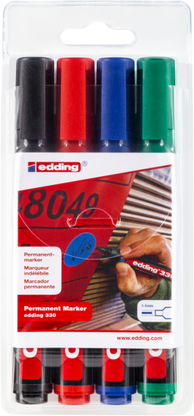 edding 22 EcoLine Permanentmarker Keilspitze 1-5mm Set a/' 4 Stifte