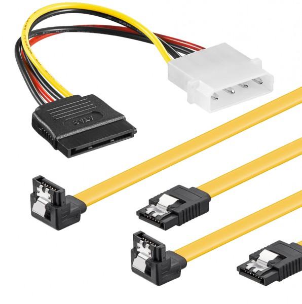 baytronic SATA Kabel Set 2x 0,5m mit Verriegelung gewinkelt + 4 Pin Stromadapter