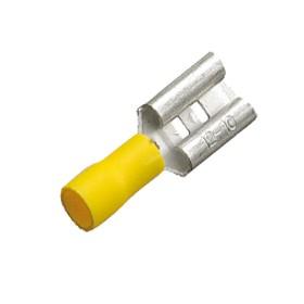 Flachstecker 9,5mm gelb für Kabel 2,5mm² - 6mm² teilisoliert