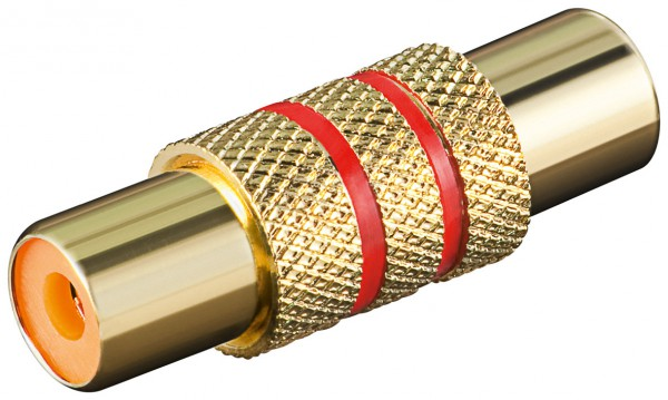 Adapter Cinch Kupplung auf Cinch Kupplung mit rotem Farbring vergoldet