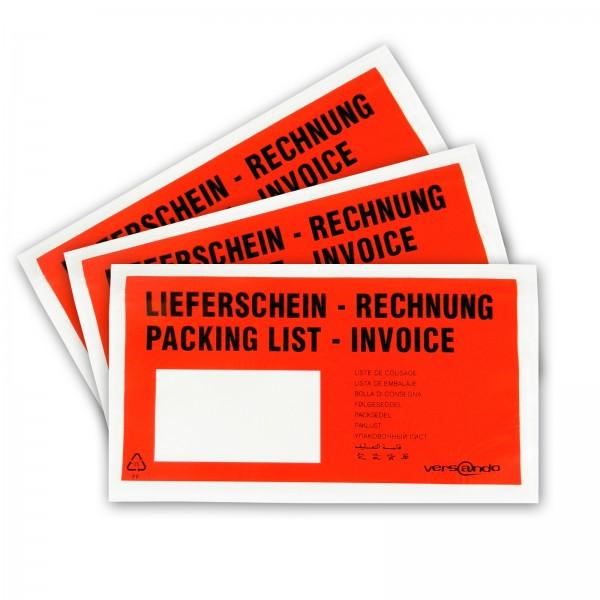 "versando Dokumententaschen, 240x110mm, DIN lang, rot/schwarz ""Lieferschein/Rechnung"" (250 Stück)"