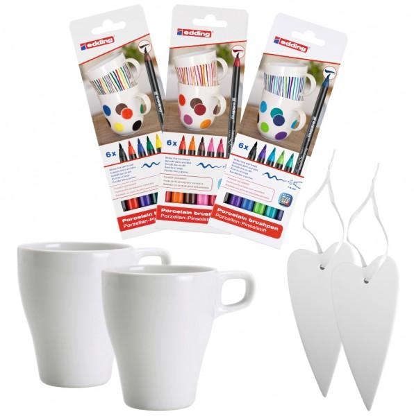 edding 4200 Porzellanpinselstift sortiert (18er Set) + 2x Becher + 2x Porzellanherz