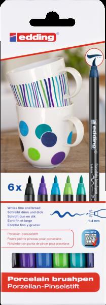edding 4200 Porzellanpinselstift sortiert cool (6er Blister)