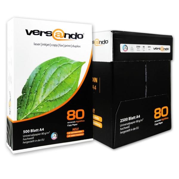 5x Versando Kopierpapier A4 80g 500 Blatt