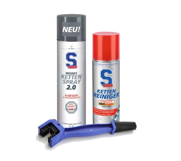 Dr. Wack S100 Kettenreiniger 300 ml + Weißes Kettenspray 2.0 400 ml + Reinigungsbürste