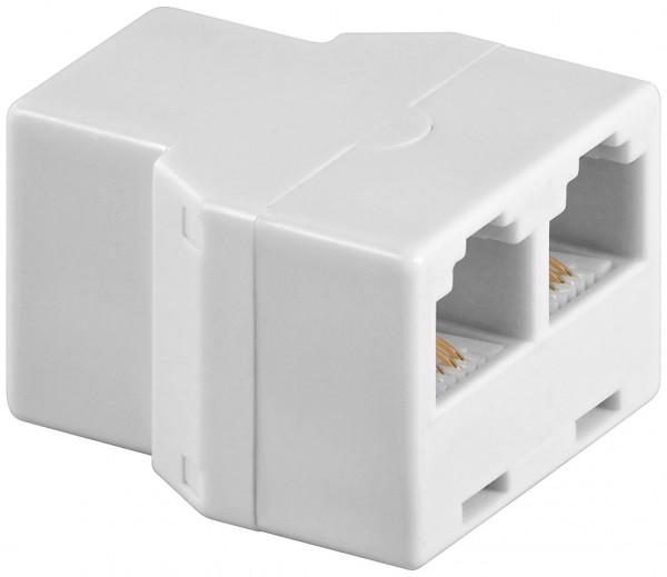 T-Adapter 2x RJ11 Buchse >RJ11 Buchse weiß