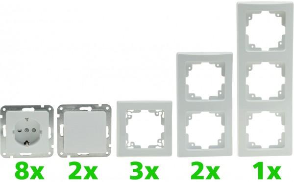 ChiliTec DELPHI Starter-Kit, 16-teilig PRO,weiß 8x Steckdose, 2x Schalter, Klemmanschluß