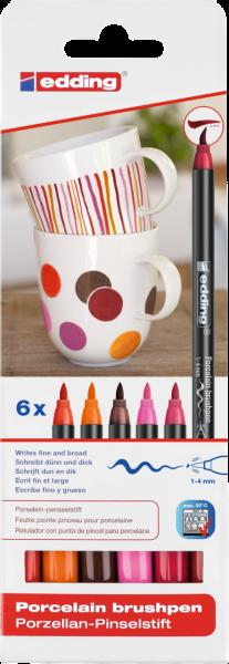 edding 4200 Porzellanpinselstift sortiert warm (6er Blister)