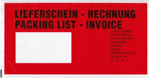 "versando Dokumententaschen, 240x110mm, DIN lang, rot/schwarz ""Lieferschein/Rechnung"" (1000 Stück)"