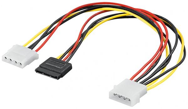 Internes PC-Stromkabel 15-polig-S-ATA Stecker -> 1x 5,25-Stecker + 1x 5,25-Buchse