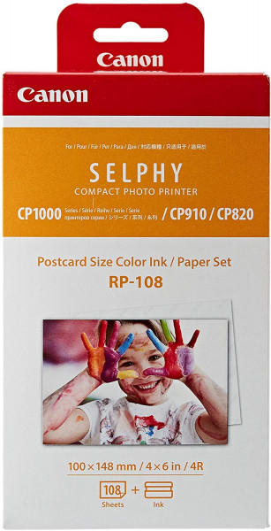 Canon RP-108 Farbkartusche & Fotopapier 100 x 148 mm für Selphy CP Fotodrucker (108 Fotos)
