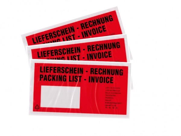 """baytronic Dokumententaschen, DIN lang, rot schwarz bedruckt """"Lieferschein/Rechnung"""" (1000 Stück)"""