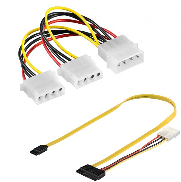baytronic SATA Kabel Set Dual SATA Kabel, Strom + Datenkabel & Internes Y Kabel 4 Pin