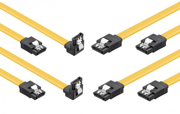 baytronic SATA Kabel Set 2x 0,5m mit Verriegelung gewinkelt, 2x 0,5m mit Verriegelung