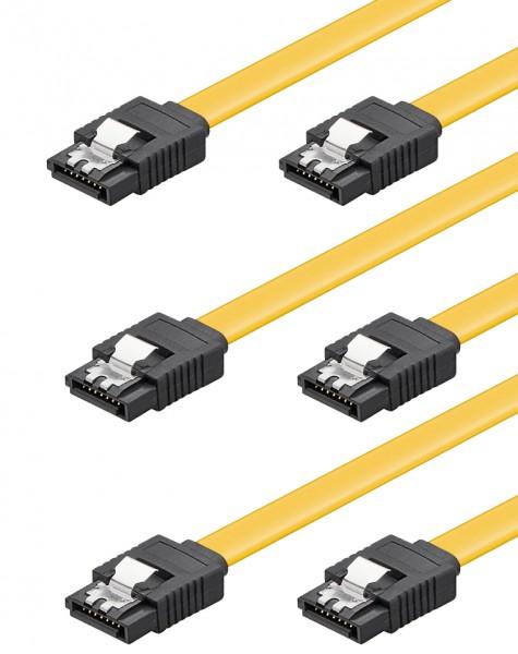 baytronic SATA Kabel Set 3x 0,5m mit Verriegelung