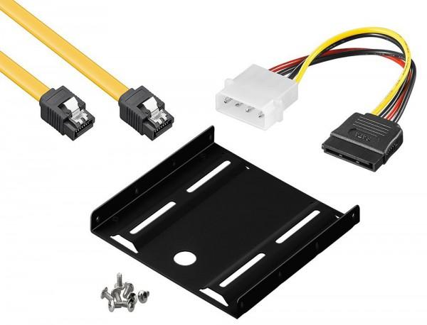 baytronic SSD Einbau-Kit für interne SSD/HDD inkl. Einbaurahmen für 6,4 cm, inkl. SATA 3 Kabel 0,5m