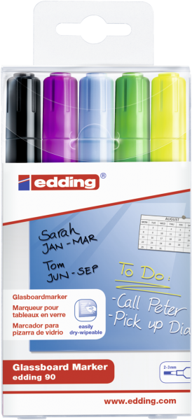 edding 90 Glasboardmarker sortiert (5er Set)