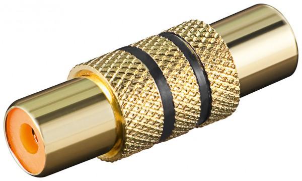 Cinchadapter Buchse auf Buchse mit schwarzem Farbring vergoldet