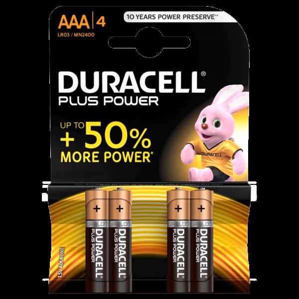 Duracell Plus Power Alkali-Batterie AAA (LR03) MN2400 1,5 V (4er Blister)